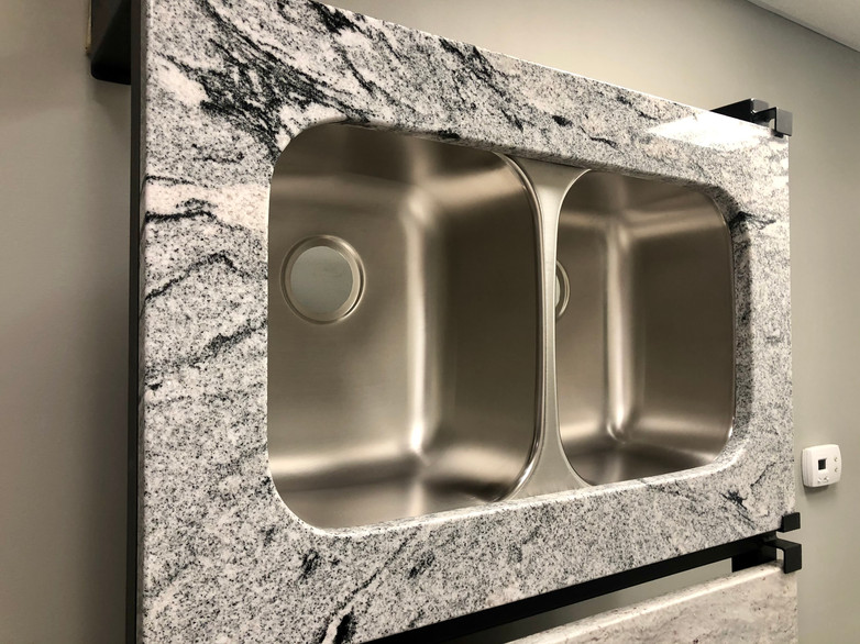50/50 Stainless Steel Sink with Viscount White Granite