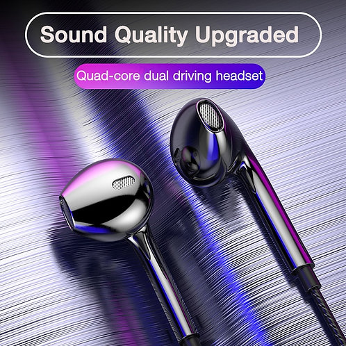 EARDECO Quad-Core Mobile Wired Headphones 3.5 Sport Earbuds With Bass With Mic