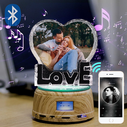 Personalized Crystal  Picture Night Lamp Bluetooth Rotating Music Player