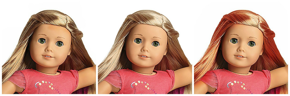 The regular Isabelle Palmer doll has blond hair. The Isabelle on the left has brown hair, the regular Isabelle with blond hair in in the middle, and the edit on the right has red hair.