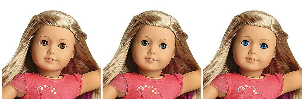 The regular Isabelle Palmer doll has hazel eyes. The Isabelle on the left has light brown eyes, the one in the middle has gray eyes, and the one on the right has blue eyes. All three edits of Isabelle have blond hair and light skin.