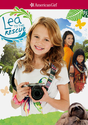 """American Girl Doll: The top of the movie poster has a red filling with the signature American Girl star and logo in white on it. Below the American Girl logo is a white background filled with assorted images. On the upper left hand corner, there is a circle with green and blue sploshes on the ring. Inside the circle, there is text that reads """"Lea To The Rescue"""", the film's name. On the upper right-hand corner, there is a green cartoon leaf, another cartoon leaf, but in darker green, and a yellow butterfly. In the middle of it all, there is a backdrop of the Brazillian Amazon that is behind the three main characters of the film. The largest character is Lea, the main and title character of Lea To The Rescue. Lea has red, wavy hair, light skin, and hazel eyes, in contrast to the Lea doll's dirty blonde hair and olive skin. Lea is wearing a white short-sleeved shirt with a butterfly graphic that is of assorted colors, mostly purple, yellow and green, a pink watch with a pink, black and yellow face, and a colorful tribal-print camera strap. Lea is holding a black camera with a black zoom lens and a white top and bottom. Lea is front and center in the photo. More to the background is Paula, the deuteragonist of Lea To The Rescue and Lea's brother, Zac's girlfriend. Paula has black, straight hair, brown eyes, and olive skin. She is wearing a orange jacket with a darker orange collar and what appears to be purple and green feathered earrings. Next to Paula is Aki, the tritagonist oft Lea To The Rescue and a member of a Brazillian tribe. Aki is wearing normal tribe wear."""