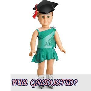American Girl Doll Graduation, American Girl Graduation, American Girl Mia St. Clair Doll Girl of the Year 2008 Graduation, American Girl Doll Ice Skater, American Girl Doll Ice Skating Performance Outfit