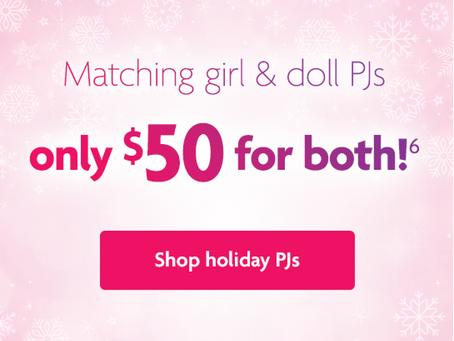 American Girl $50 Matching Holiday Pajamas