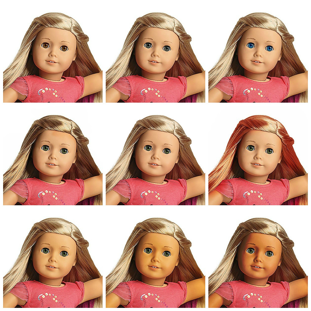 There are nine versions of Isabelle Palmer, American Girl's Girl of the Year 2014, with eight of them being edits of her. The first row starts with a Isabelle doll with brown eyes that debuted with the launch of the American Girl of Today line in 1995. The next Isabelle in the row features gray eyes, which debuted with the start of Pleasant Company in 1986 (Molly had gray eyes). The last doll in the top row has blue eyes, which also debuted in 1986 (Kirsten had them). To start off the next row, there is a doll with brown hair, which also came out in 1986 with the launch of American Girl. The next doll (and also the doll in the middle of the whole Isabelle collage) is the regular Isabelle Palmer doll that was released in 2014 and retired at the start of the next year, with blond hair and hazel eyes. The last doll in the second row has red hair, which came out in 1991 with the release of Felicity Merriman, a doll from colonial times. The last row starts with a Isabelle doll with olive skin, which came out at the start of 2016 with the release of Girl Of The Year 2016 Lea Clark. The next doll has medium skin, which debuted in 1995 with the launch of the American Girl of Today line. The last doll in the last row has dark skin, which debuted in 1993 with the release of Addy Walker, a African-American doll from the Civil War. The former doll ends the collage of all nine versions of Isabelle.