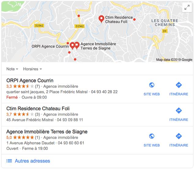 Recherche locale d'une agence immobilière via Google