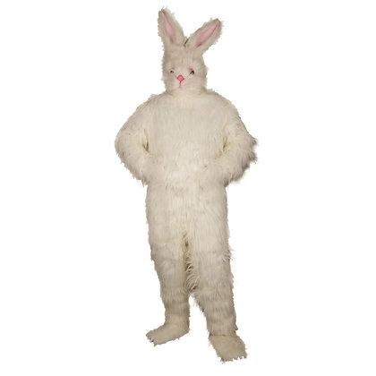 Mascotte de lapin blanc à poils longs