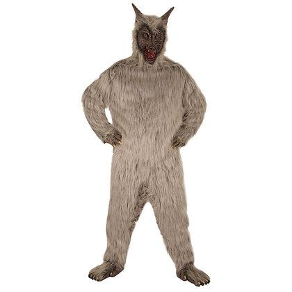 Mascotte de loup gris à poils longs