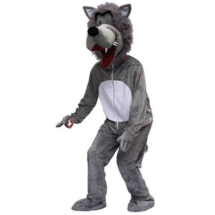 Déguisement de loup gris à tête souple