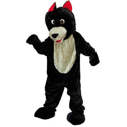 Mascotte de loup noir à tête souple