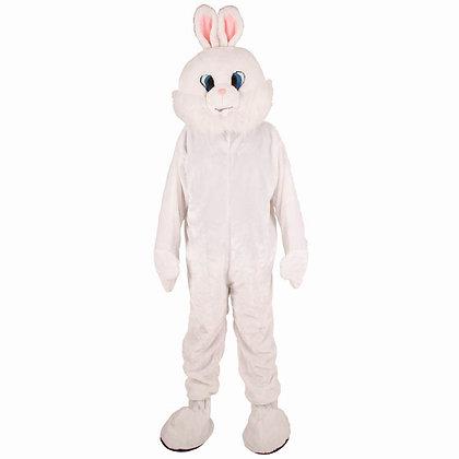 Mascotte de lapin blanc à tête souple