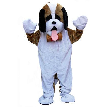 Mascotte de chien blanc à tête souple