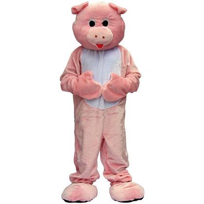 Mascotte de cochon rose à tête souple