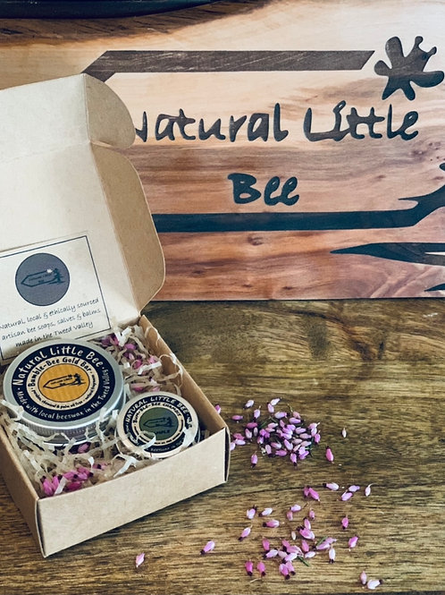 Gift set bumble bee gold bar and lip balm noncomedogenic great for dry skin and acne present