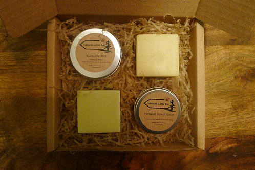 natural little bee bum-ble bee balm chamois in a gift set with two soaps and a hand salve natural and long lasting