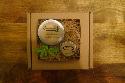 open display gift box with a bum-ble bee balm and natural lip balm inside from natural little bee