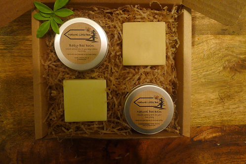 baby bee balm from natural little bee allergen free containing beeswax and natural allergen free soap in a display gift box