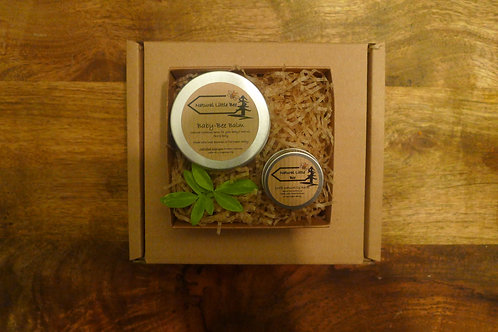 open natural little bee baby gift box baby bee balm and natural lip balm inside all allergen free