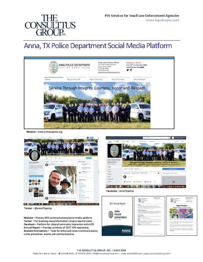 Social Media Platform Created for City of Anna TX Police Department - New Website, Twitter Page, Fac