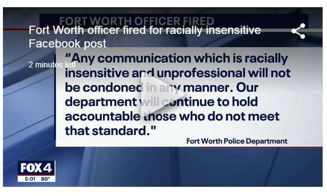 Fort Worth Police Officer Fired Over an Insensitive Facebook Post
