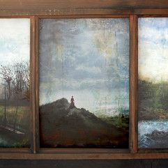 To Discover and to Forget (Triptych in Antique Salvaged Window).jpg
