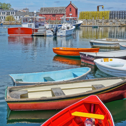 Colorful Boats in Harbor