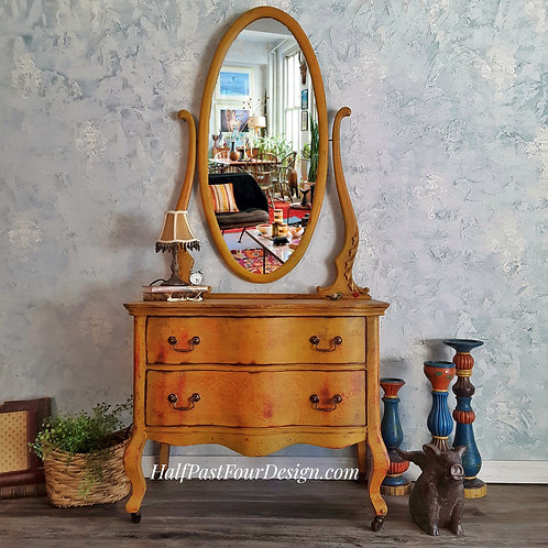 Golden Sunrise Antique Dresser with Mirror