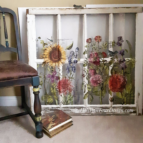 Antique Window with floral design
