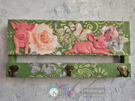 How to use transfers, stencils, moulds and paint to create a cute wall hanging.