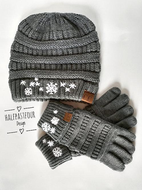 Winter Wonderland CC Ponytail Beanie and Glove Set