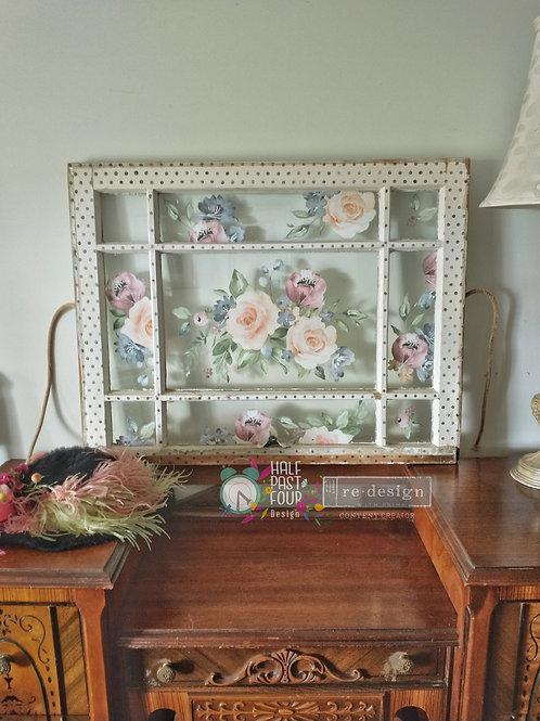 Watercolor Bloom Antique Window