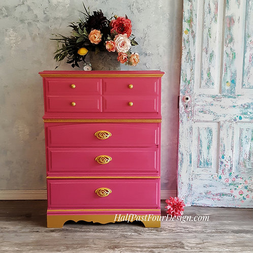 Peony Pink and Gold Dresser