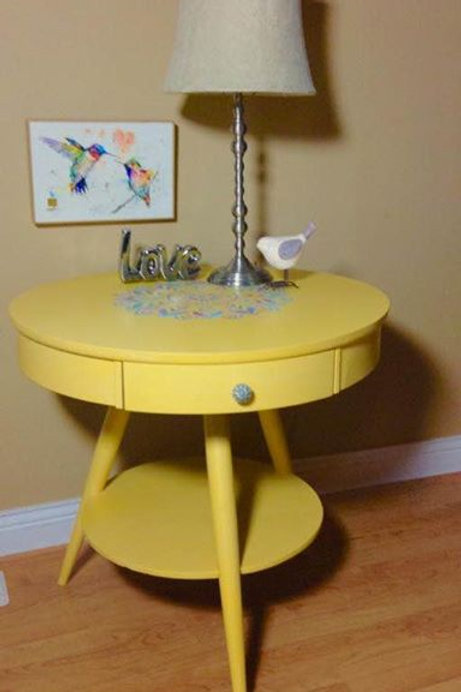 Yellow Drum Table with Boho Design