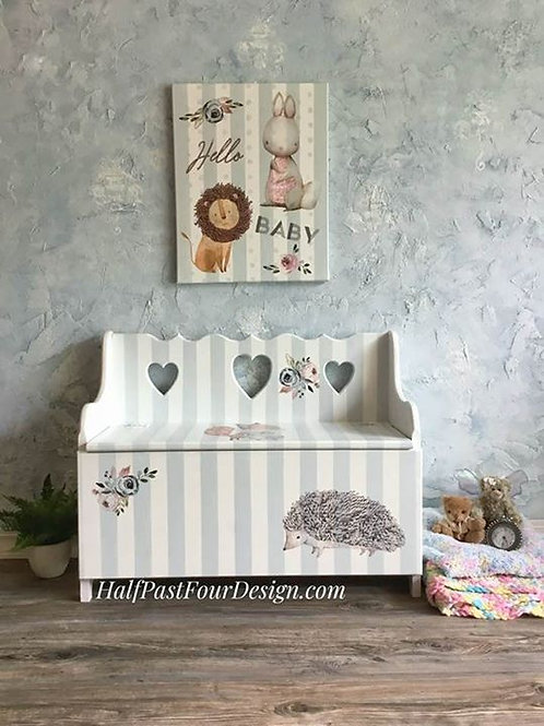 Adorable Nursery Bench and Matching Canvas