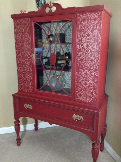 Vintage Red China Cabinet