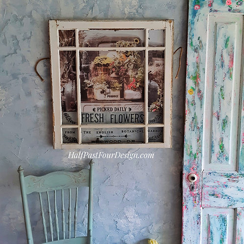 'Fresh Flowers' Antique Window