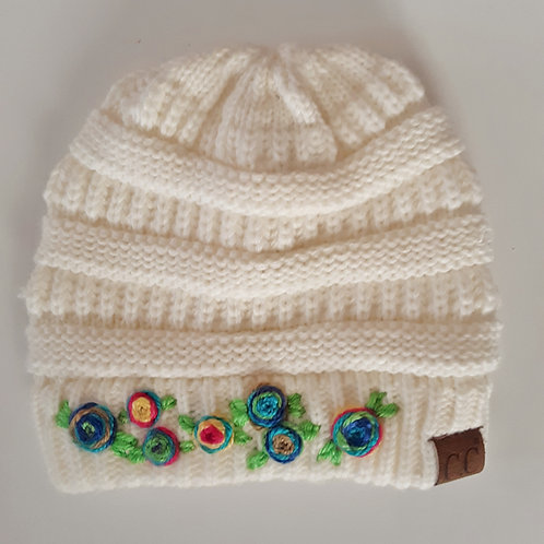 Joyful Flower Garden Cream Beanie