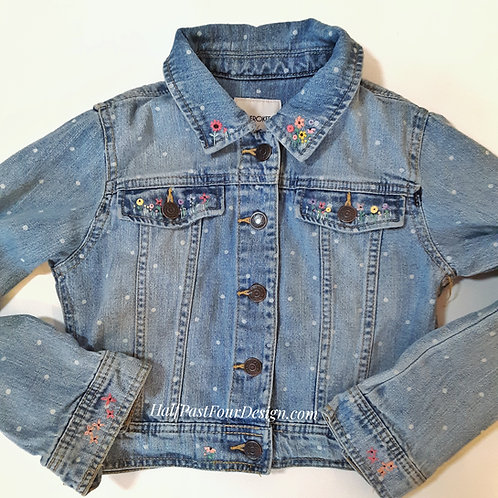 Hand Embroidered Girl's Denim Jacket
