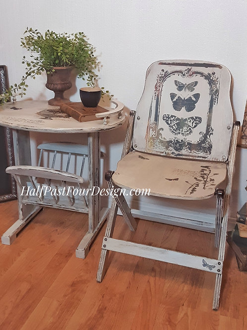 Vintage Wooden Folding Chair and Side Table Set