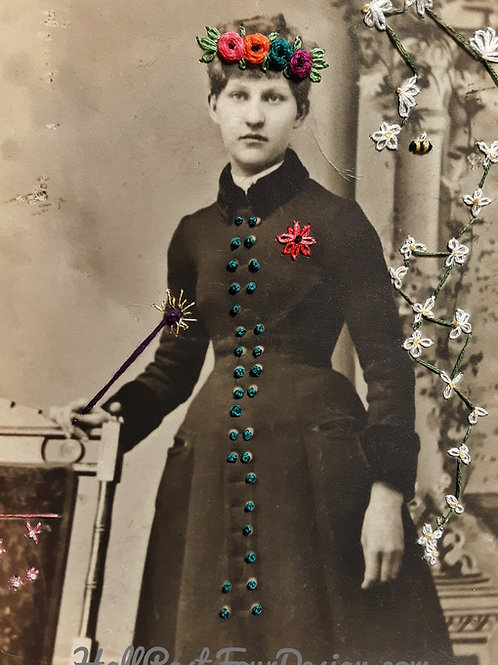Hand Embroidered Vintage Photo