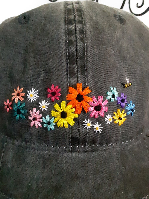 Hand Embroidered Floral Hat