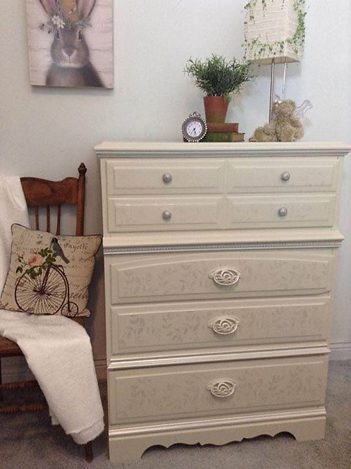 White Chest of Drawers with Floral Design