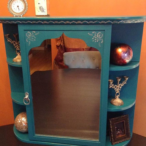 Boho Wall Cabinet with Mirror and Shelves