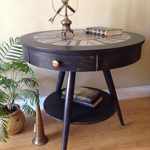 Vintage Drum Clock Table