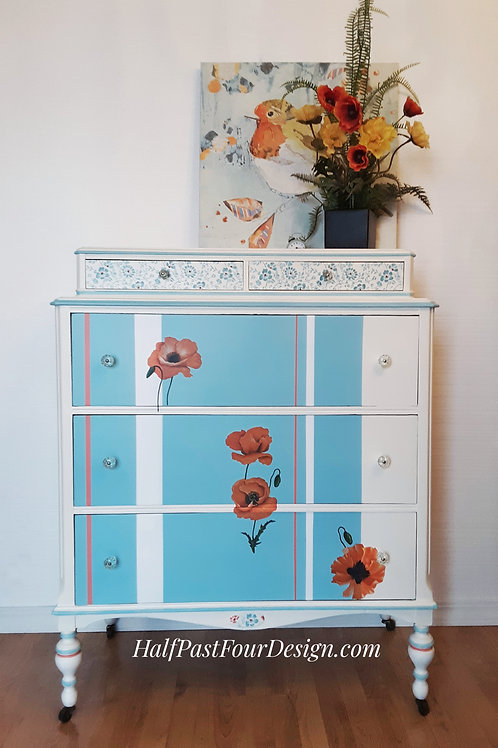 """Summer Breeze"" Painted antique chest of drawers"