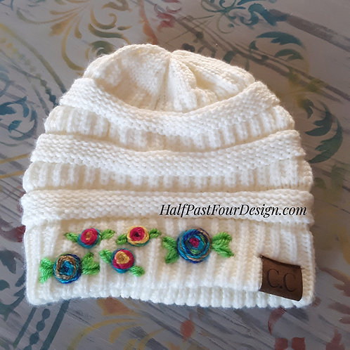 Hand embroidered beanie