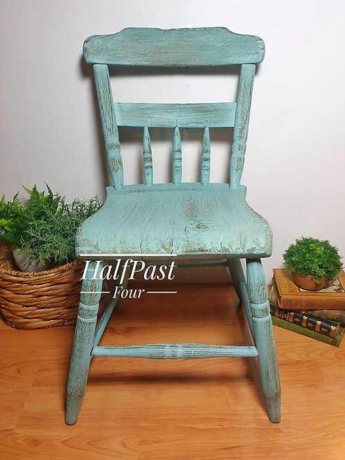 Milk Painted Antique Chair in Blue