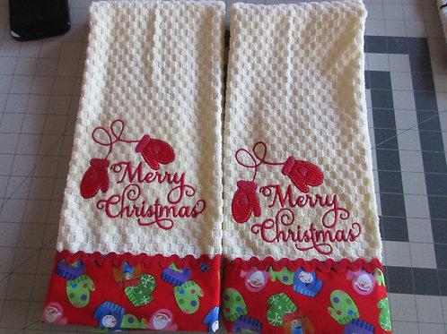 Dishtowels - Merry Christmas Mittens