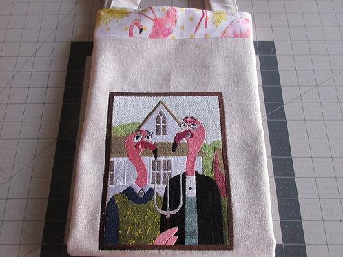 Tote Bag - American Gothic Flamingos