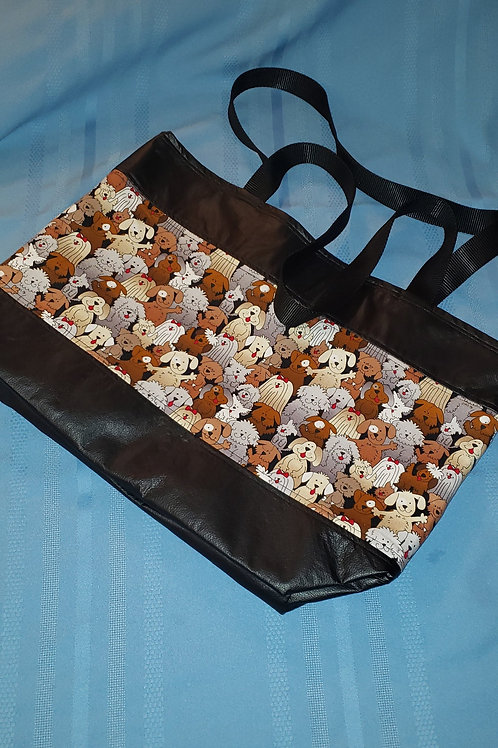 CARTOON DOG & BLACK PLEATHER TOTE BAG